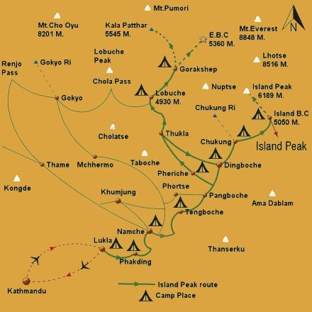 Island Peak Climbing map