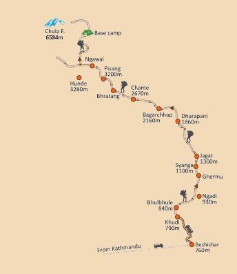 Chulu East Peak Climbing map