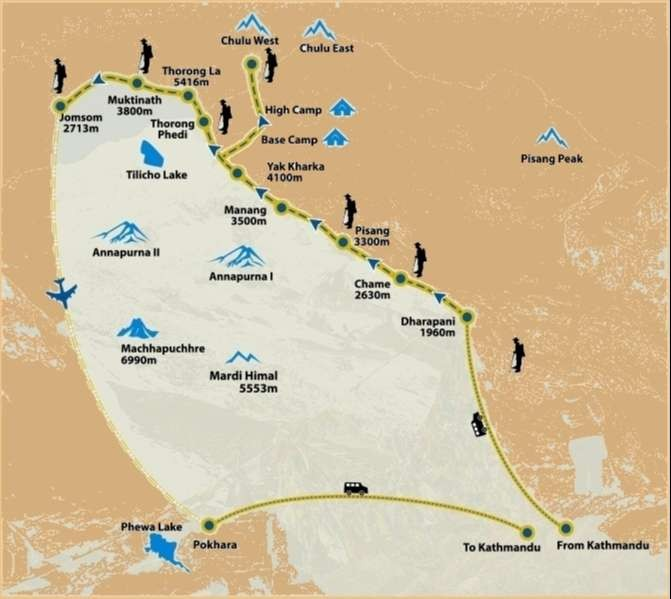 Chulu West Peak climbing map