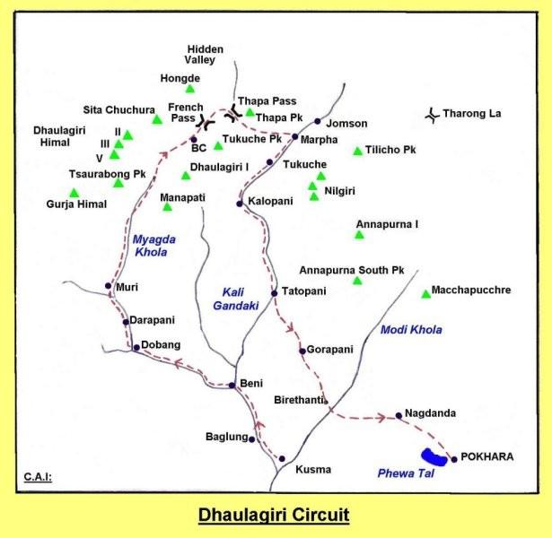 Dhaulagiri Circuit Trek Map