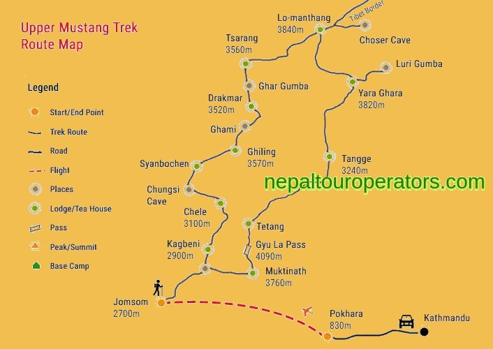 Upper Mustang Trek Map