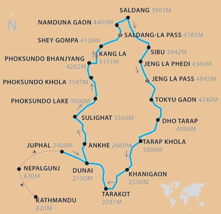 Upper Dolpo Trek Map