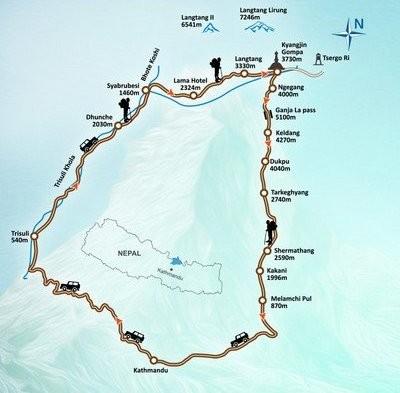 Ganja La Pass Trekking Map