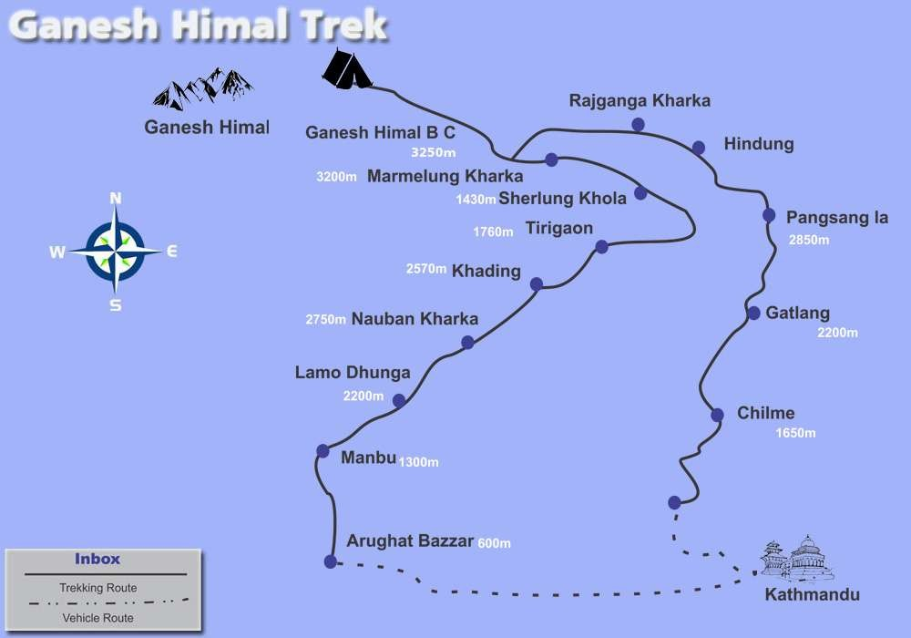 Ganesh Himal Trekking Map